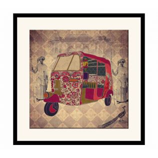 India Circus Auto Tripping Mason Framed Wall Art