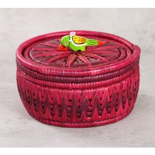 India Circus Badohi Hand Woven Purple Basket