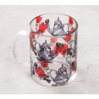 India Circus Beige Mystic Rose Kettles Glass Mug