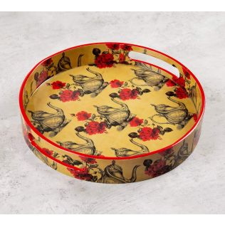 India Circus Beige Mystic Rose Kettles Round Serving Tray