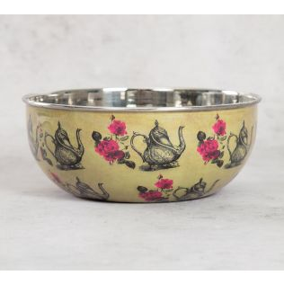India Circus Beige Mystic Rose Kettles Serving Bowl