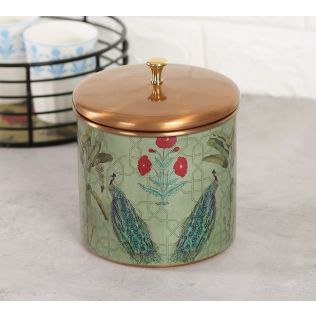 India Circus Birds of the Tropics Storage Jar