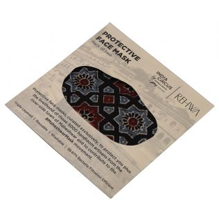 India Circus Black Ajrak Print Cotton Mask