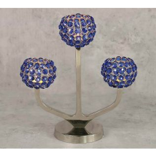 India Circus Blue Globe Crystal Candle Holder