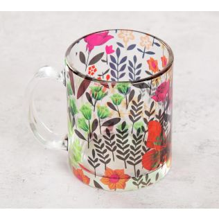 India Circus Bright Mimosa Florals Glass Mug