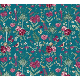 India Circus by Krsnaa Mehta Teal Floral Galore Wallpaper