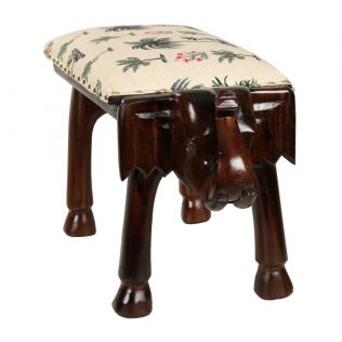 India Circus Chevron Palms Elephant Pouffe