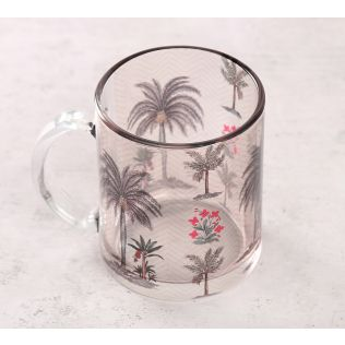 India Circus Chevron Palms Glass Mug