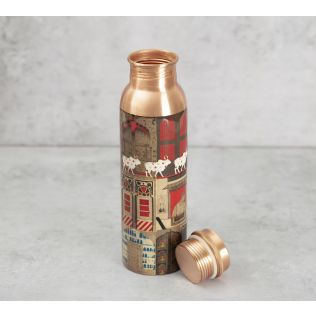 India Circus Doors Of Mystical Wonder Copper Bottle