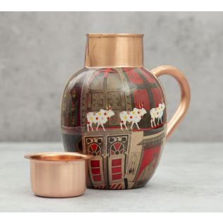 India Circus Doors Of Mystical Wonder Copper Jug Set