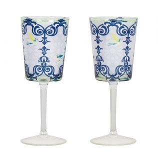 India Circus Flight of Birds Wine Glasses Set of 2