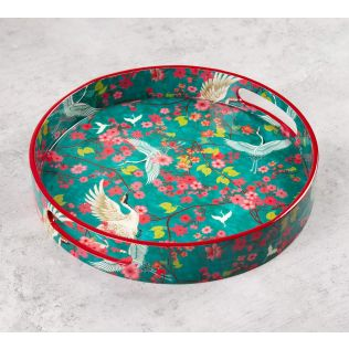 India Circus Flight of Cranes Round Serving Tray