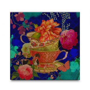 India Circus Floral Cup Illusion 16x16 and 24x24 Canvas Wall Art