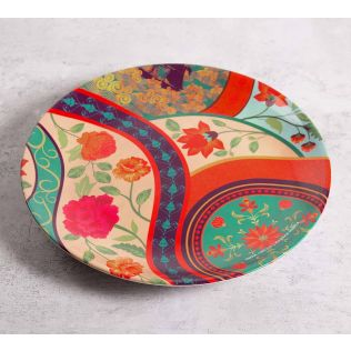 India Circus Floral Embroidery 10 inch Decorative and Snacks Platter