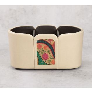 India Circus Floral Embroidery Leather Desk Organiser