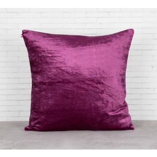 India Circus Floral Enigma Purple Embroidered Velvet Cushion Cover