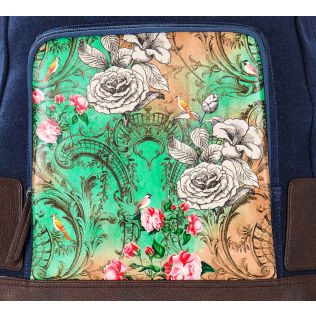 India Circus Floral Flutter Denim Backpack