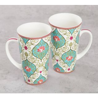 India Circus Floral Illusion Conical Mug (Set of 2)