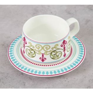 India Circus Floral Illusion Cup and Saucer (Set of 6)