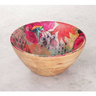 India Circus Floral Kingdom Wooden Bowl
