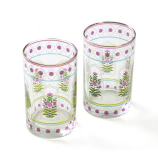 India Circus Floral Lattice Small Glass Tumbler (Set of 2)