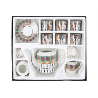 India Circus Floral Reed Tea Cup & Saucer Set of 17 pcs