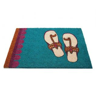India Circus Funky Slippers Teal Doormat