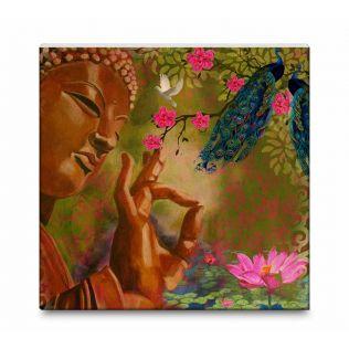 India Circus Garden Of Peace Canvas Mounted Wall Art