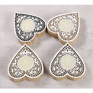 India Circus Heart Shaped Wooden Engraved Tea Light Holder Set of 4