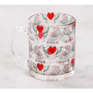 India Circus Heart Tusker Glass Mug