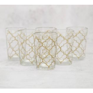 India Circus Jaunty Jali Moroccan Glasses Set of 6