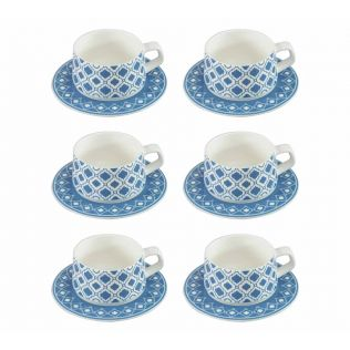 India Circus Lattice Fence Dining Extravaganza Cup and Saucer