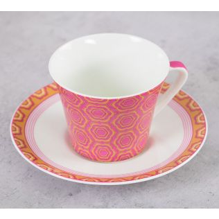 India Circus Lattice Lotus Cup & Saucer