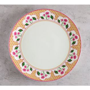 India Circus Lattice Lotus Dinner Plate