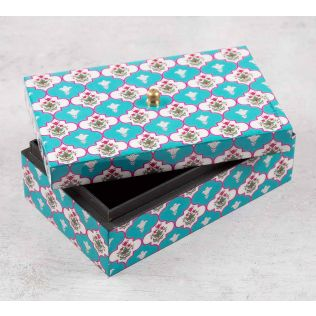 India Circus Lattice Treasures Enameled Storage Box