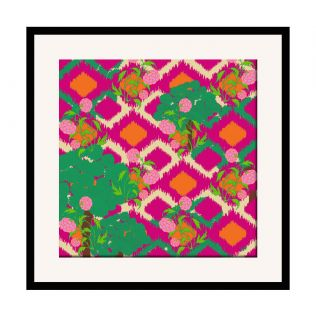 India Circus Lattice Vermillion 16 x 16 and 24 x 24 Framed Wall Art