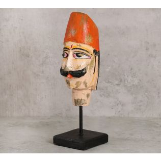 India Circus Magnolia Textured Wooden Mask on Stand- Man