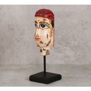 India Circus Magnolia Textured Wooden Mask on Stand- Woman