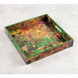 India Circus Mapping Animals Square Tray