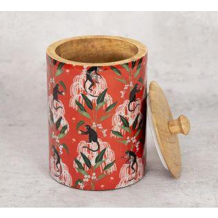 India Circus Monkey Games Medium Wooden Jar