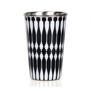 India Circus Monochrome Bowling Pin Steel Tumbler Set of 2