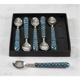 India Circus Moribund Geometry Dessert Spoon Set of 6