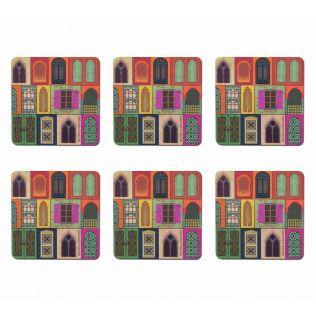 India Circus Mughal Doors Reiteration Table Coaster Set of 6