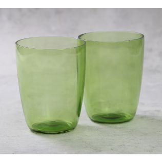 India Circus Olive Water Drinking Glass (Set of 2)