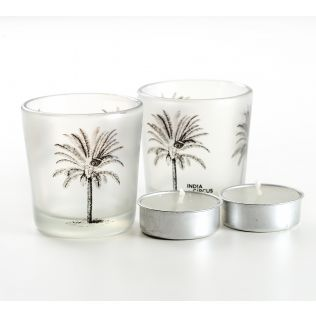 India Circus Palm Parade Tea Light Holder Set of 2