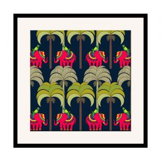 India Circus Palmeria Tusker Reiteration 16 x 16 and 24 x 24 Framed Wall Art