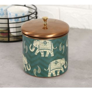 India Circus Parading Tuskers Storage Jar