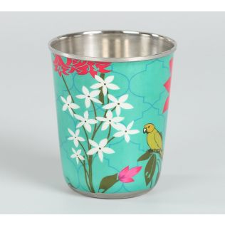 India Circus Parrot & Blooms Small Steel Tumbler (Set of 2)