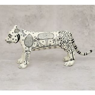 India Circus Pattachitra Art White Tiger