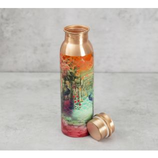 India Circus Peacock Dwar Copper Bottle